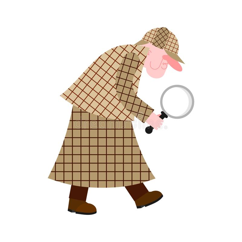 Private detective in raincoat and with magnifying glass. Vector vector illustration