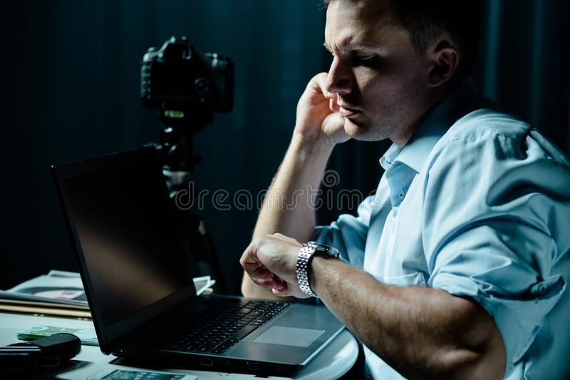 Private detective at work royalty free stock photography