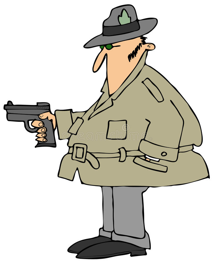 Download Private eye with a gun stock illustration. Image of hold - 40522156