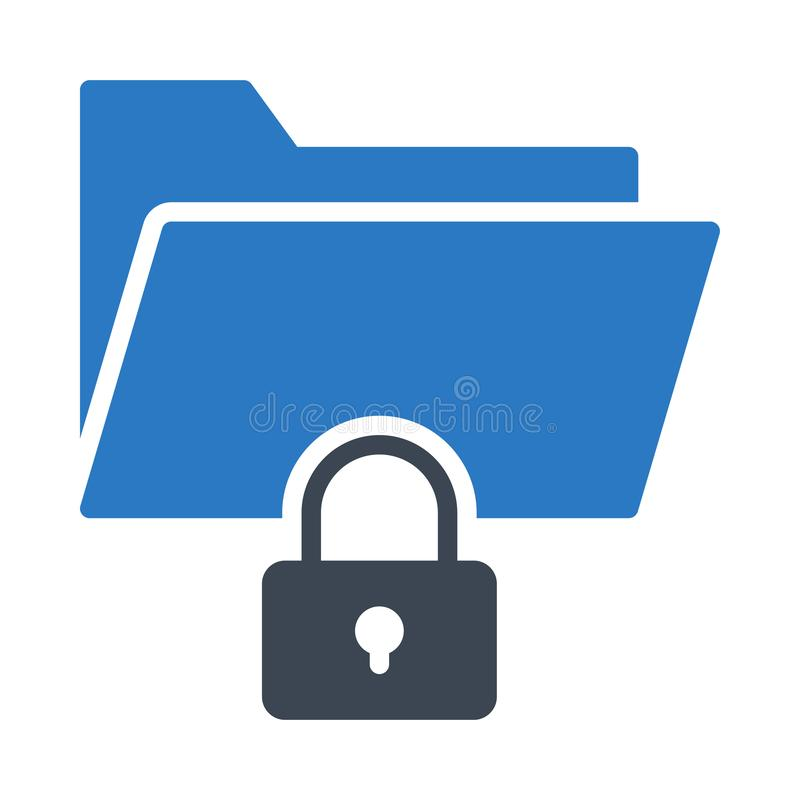 Private folder glyph color flat vector icon royalty free illustration