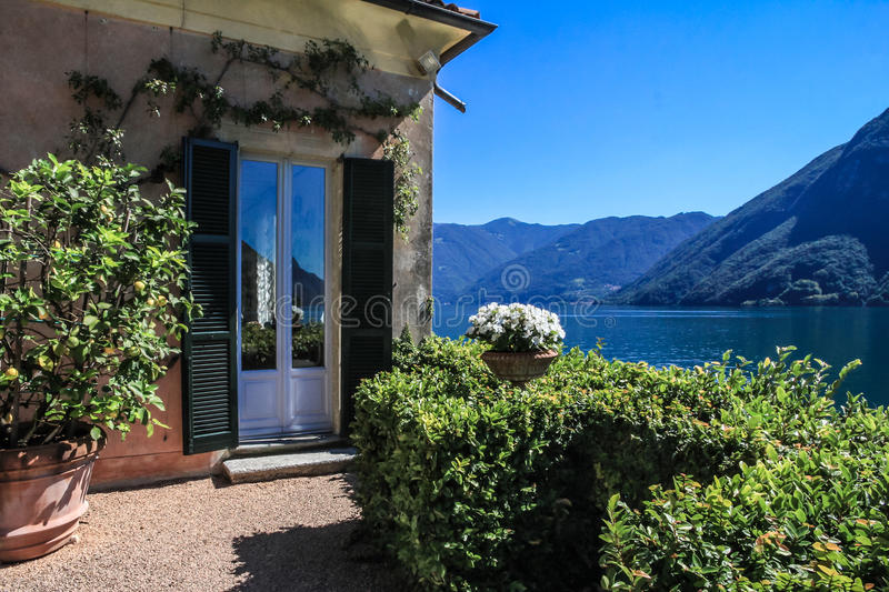 Private garden and lake royalty free stock images