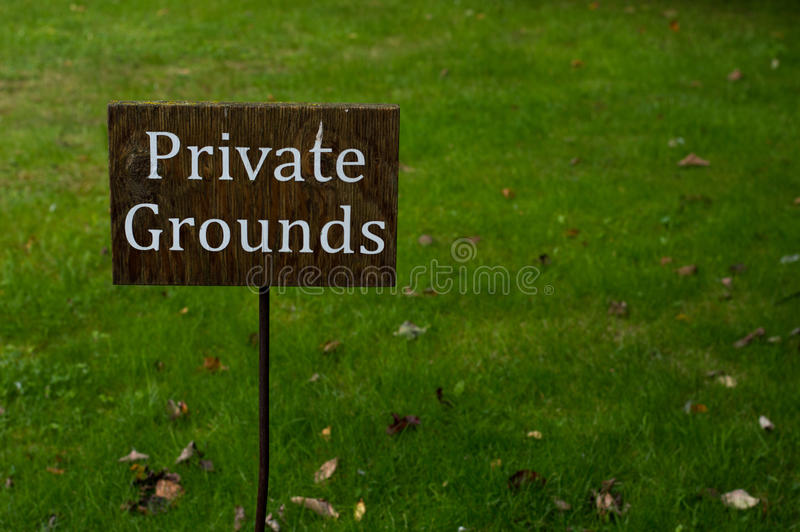 Private grounds sign royalty free stock photography