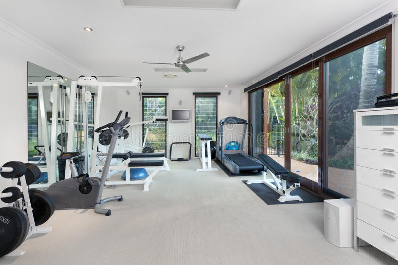 Download Private gym stock photo. Image of mirror, house, treadmill - 25700162