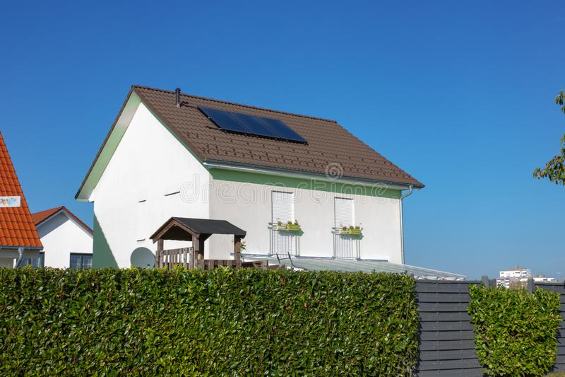 private home with solar panel stock photo