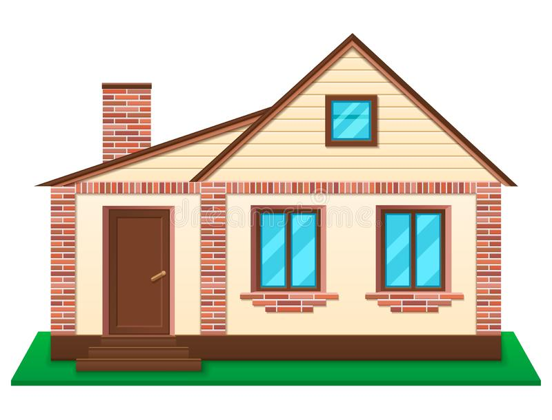 Private house at lawn vector illustration. Private house at lawn. New building for living, renting and selling. Brick facade structures. Isolated on white royalty free illustration