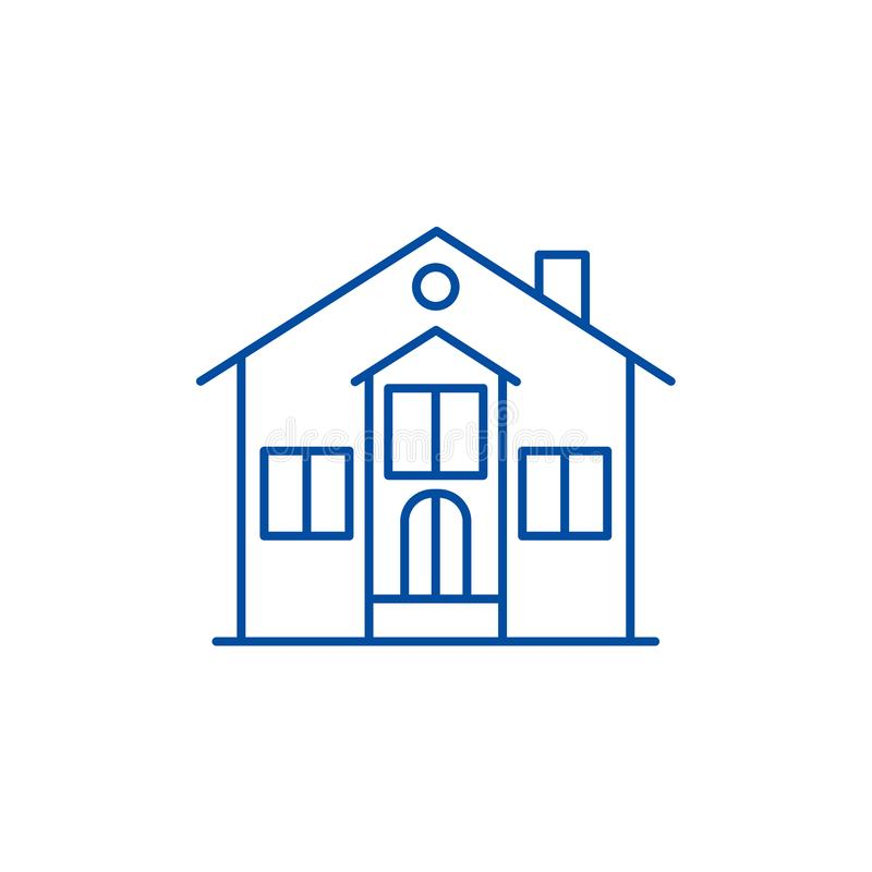 Private house line icon concept. Private house flat  vector symbol, sign, outline illustration. stock illustration