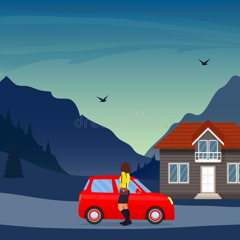 Private house in the mountains, cute red car and woman in the foreground. Traditional cottage in the mountains, illustratio. N vector illustration