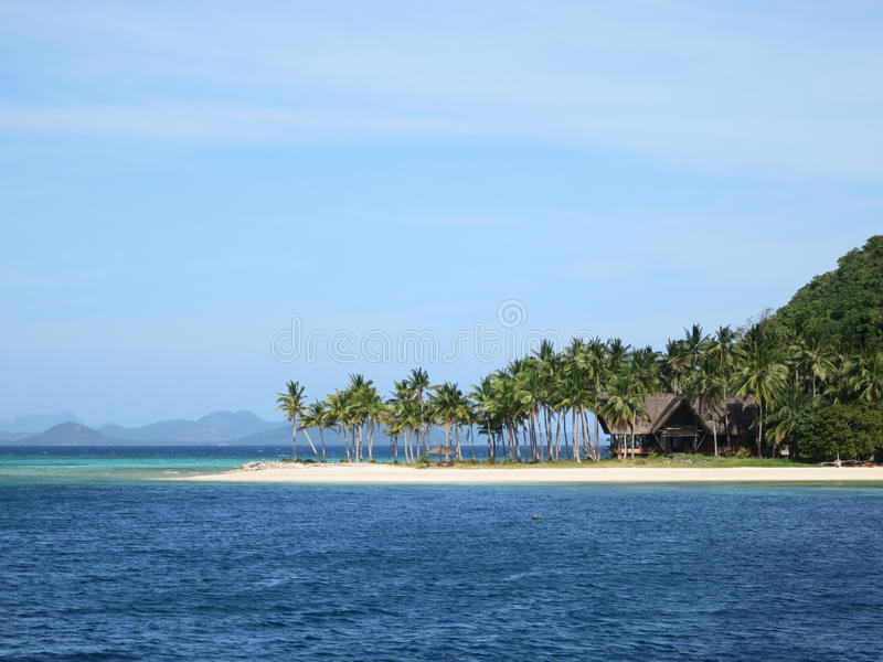 Private house on remote island. Private house resort on remote island in Philippines stock photo