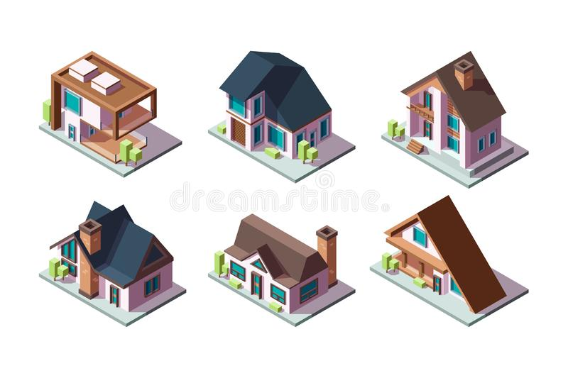 Private house. Residential modern buildings 3d low poly constructions isometric vector collection vector illustration
