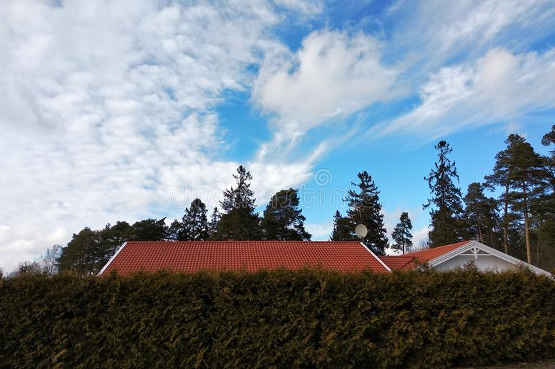 Private house roof with red tiles over green bushes with blue sky over royalty free stock photography