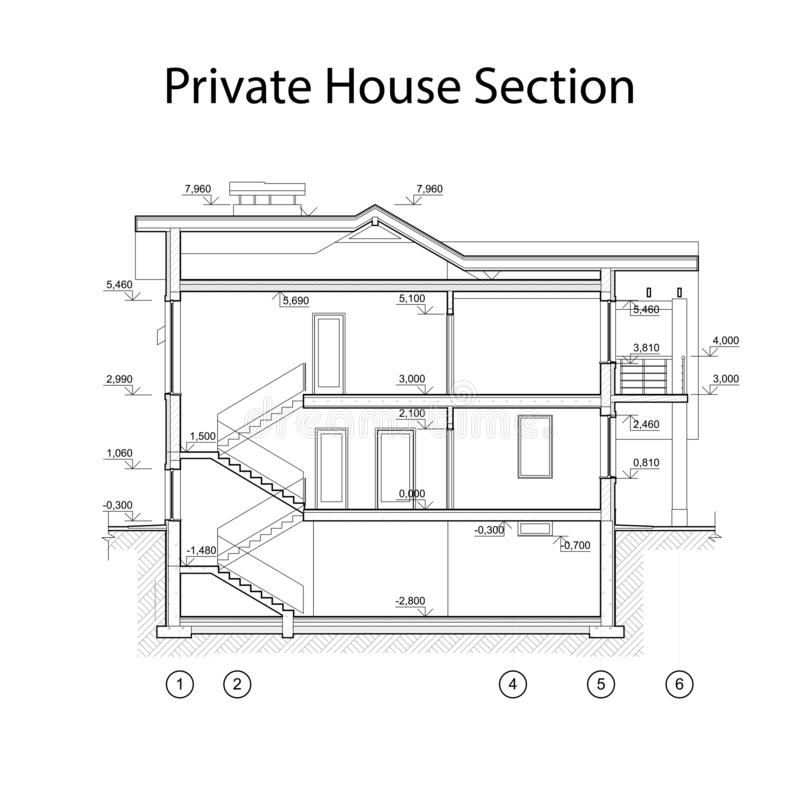 Private house section, detailed architectural technical drawing, vector blueprint stock illustration