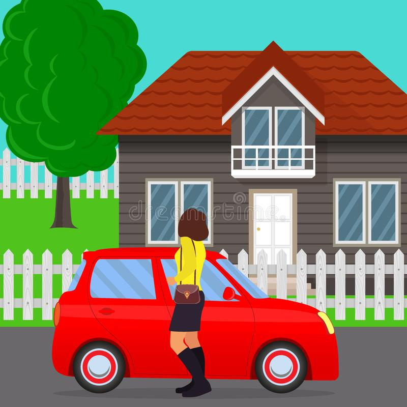 Private house, tree and fence, car and woman in the foreground. Traditional cottage with car and woman standing near. Home and aut. Omobile in flat style, vector vector illustration