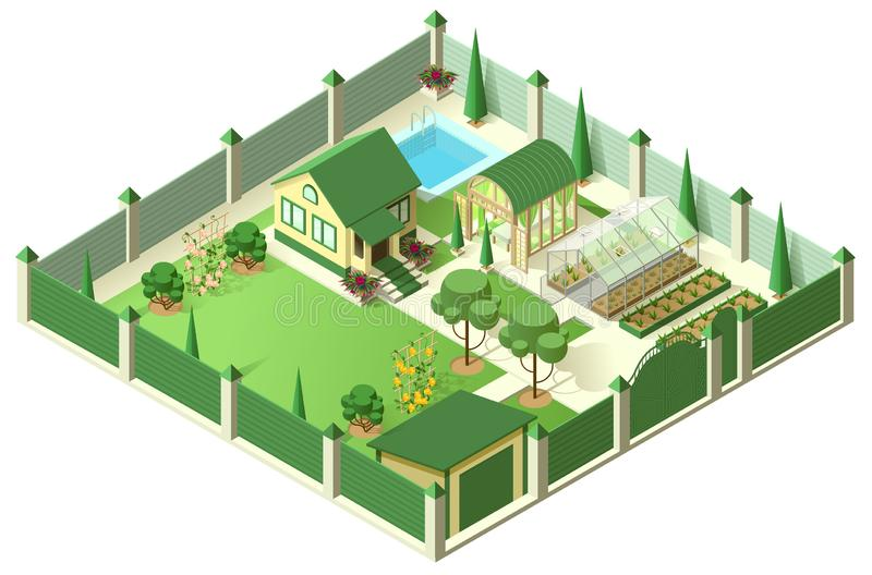 Private house yard with plot of land behind high fence. Isometric 3d illustration stock illustration