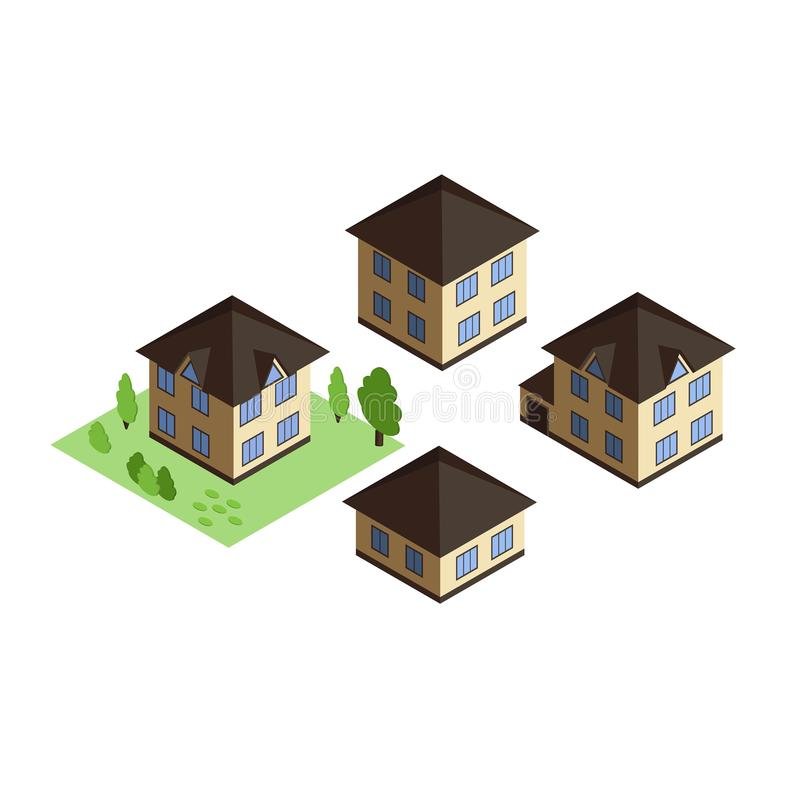 Private houses in isometric projection isolated on white background stock illustration