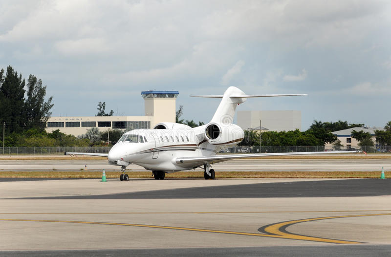 Private jet. Luxury jet airplane for private business charters stock photo