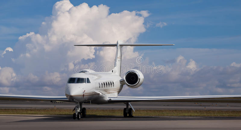 Private jet at the airport stock image