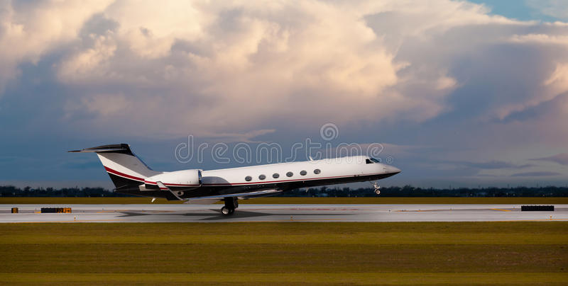 Private jet at the airport stock images
