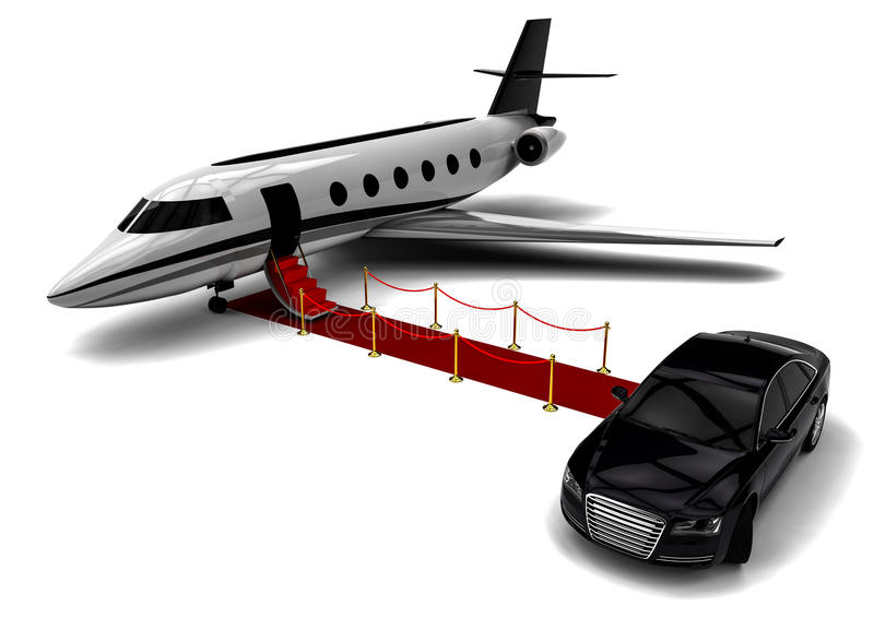 Private jet. 3D render image representing a private jet royalty free illustration