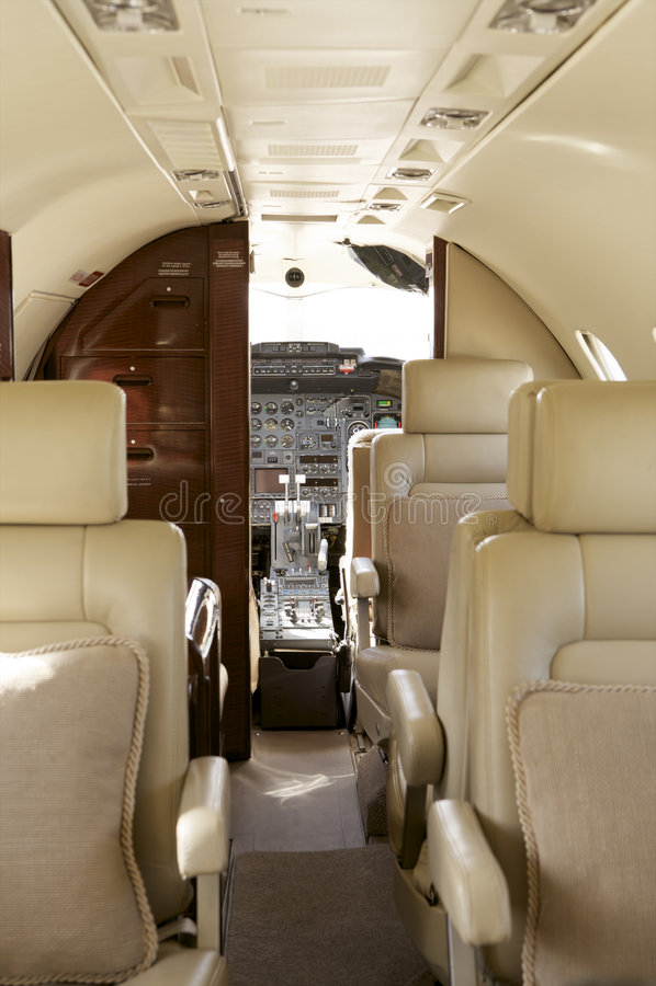 Private Jet Interior stock image
