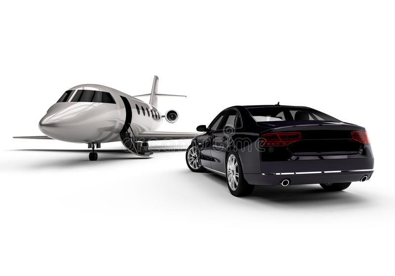 Private jet with a limousine royalty free illustration