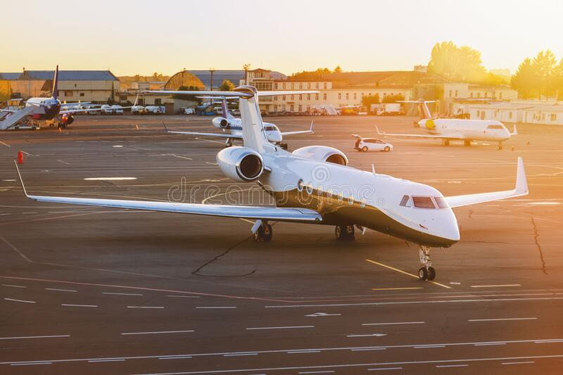 Private jet plane at airport stock photography