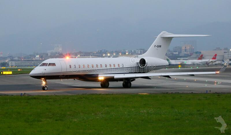 Private jet on runway stock photography