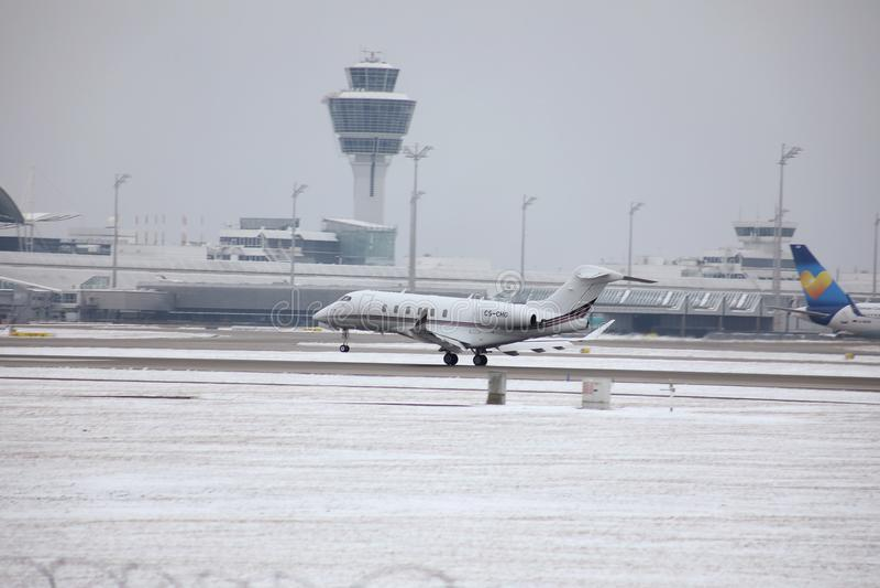 Private jet taking off, Munich Airport MUC stock photo