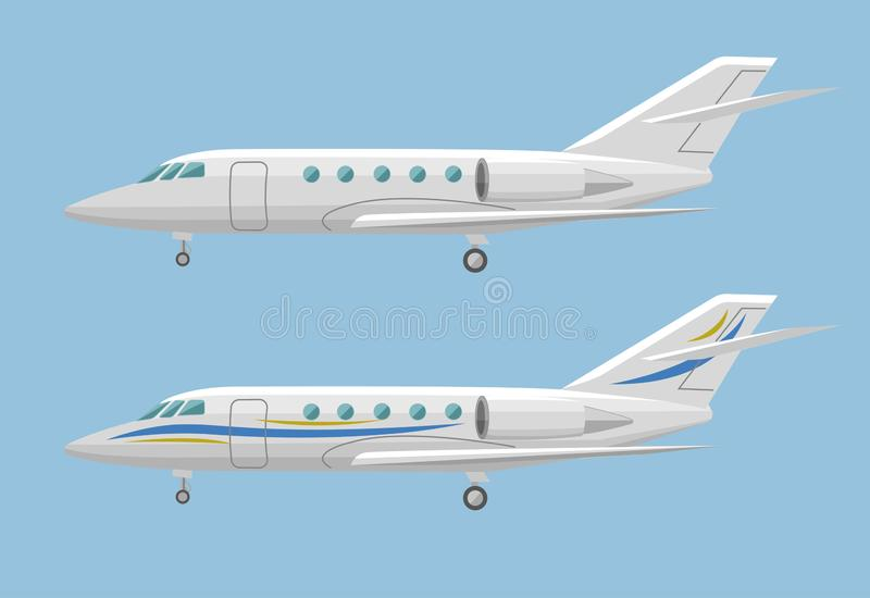 Private jet vector icon. Business jet illustration. Luxury twin engine plane standing on the ground stock illustration