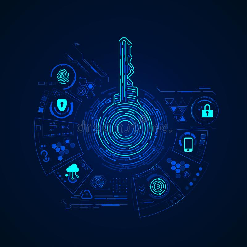 Private Key. Concept of cyber security or private key, abstract digital key with technology interface royalty free illustration