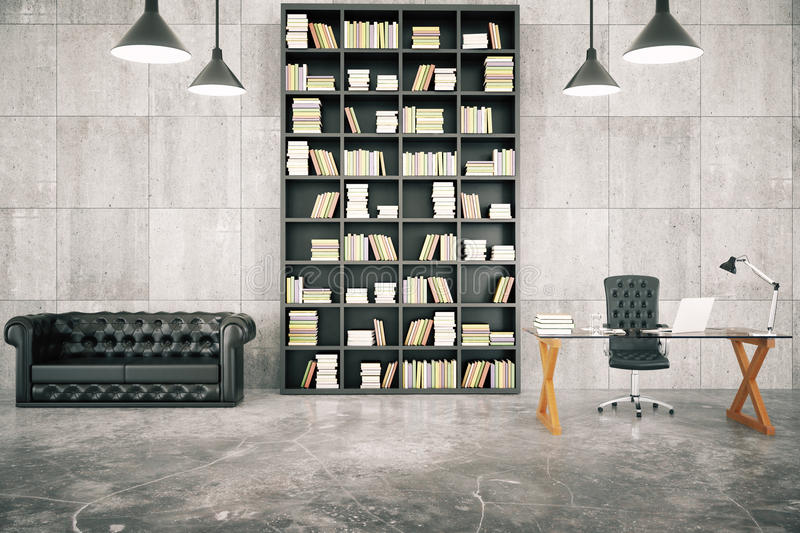 Private loft office with bookcase, leather sofa and glassy table royalty free illustration