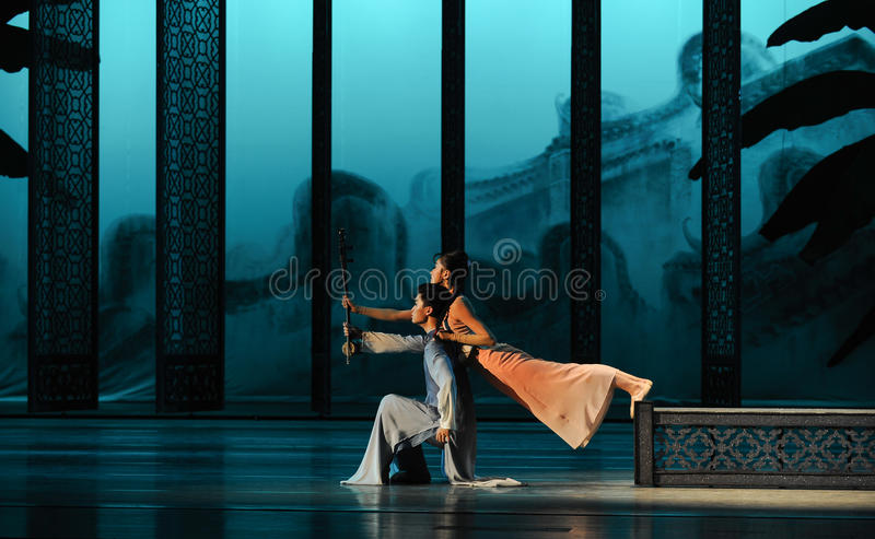 Private meeting in the back garden-The second act of dance drama-Shawan events of the past. Guangdong Shawan Town is the hometown of ballet music, the past royalty free stock photos