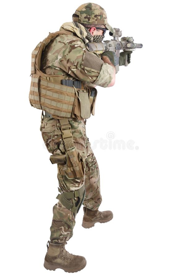 Private Military Company contractor with assault rifle royalty free stock photography