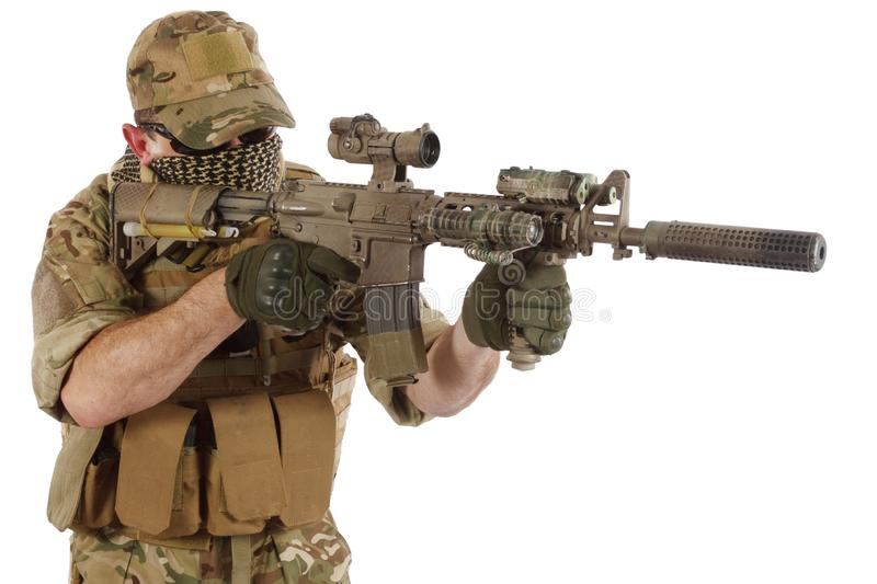 Private Military Company contractor with assault rifle royalty free stock image