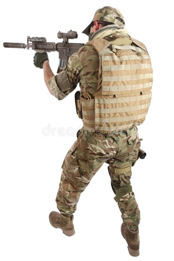 Private Military Company contractor with assault rifle stock photo