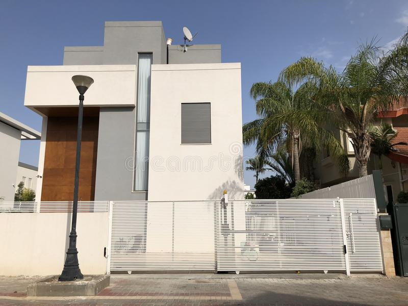 The Big Fence And Private Modern Houses On The Streets In ...