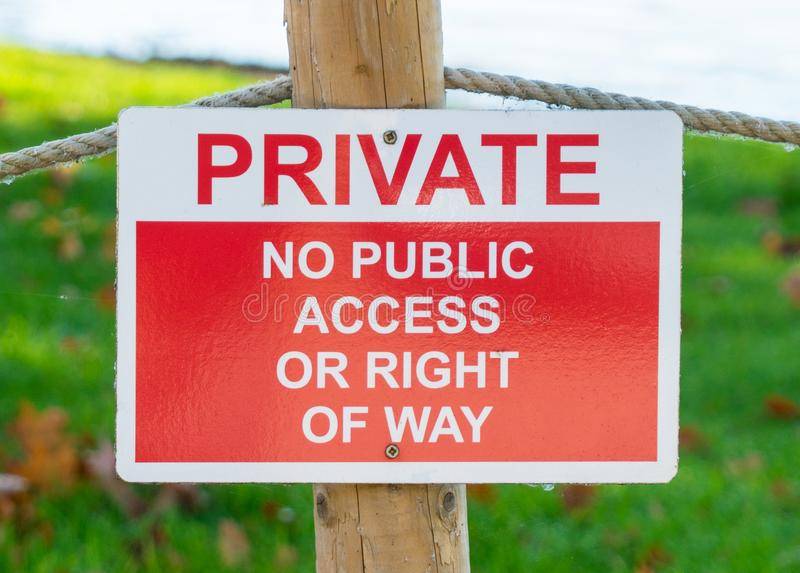 Private - No public access or right of way warning sign royalty free stock photography