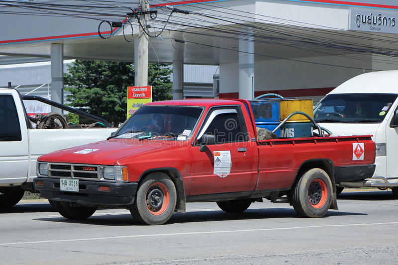 Private Oil Pick up Truck. CHIANGMAI, THAILAND -SEPTEMBER 22 2015: Private Oil Pick up Truck. Photo at road no.1001 about 8 km from city center, thailand stock photography