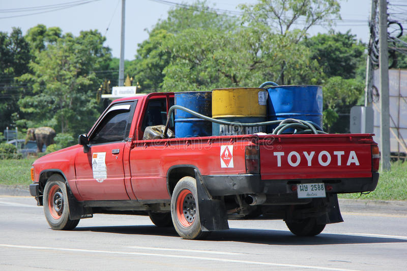 Private Oil Pick up Truck. CHIANGMAI, THAILAND -SEPTEMBER 22 2015: Private Oil Pick up Truck. Photo at road no.1001 about 8 km from city center, thailand royalty free stock images
