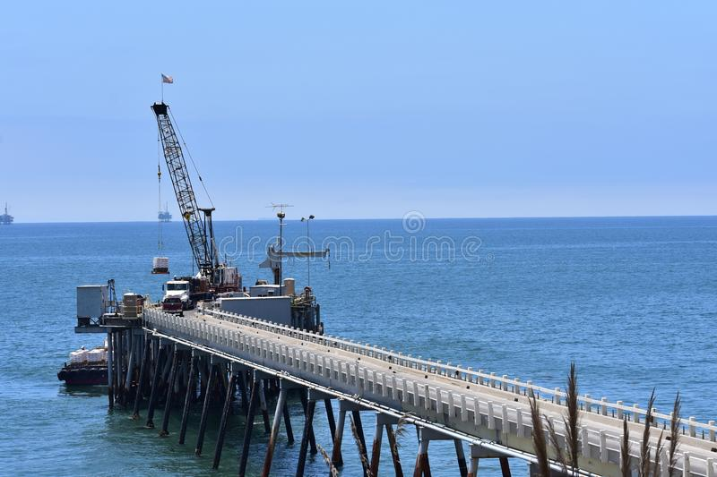 Chevron Oil Pier Carpinteria California, 6. A private pier to get equipment and personal back-and-forth to the off shore oil rigs, it is off limits to public stock image