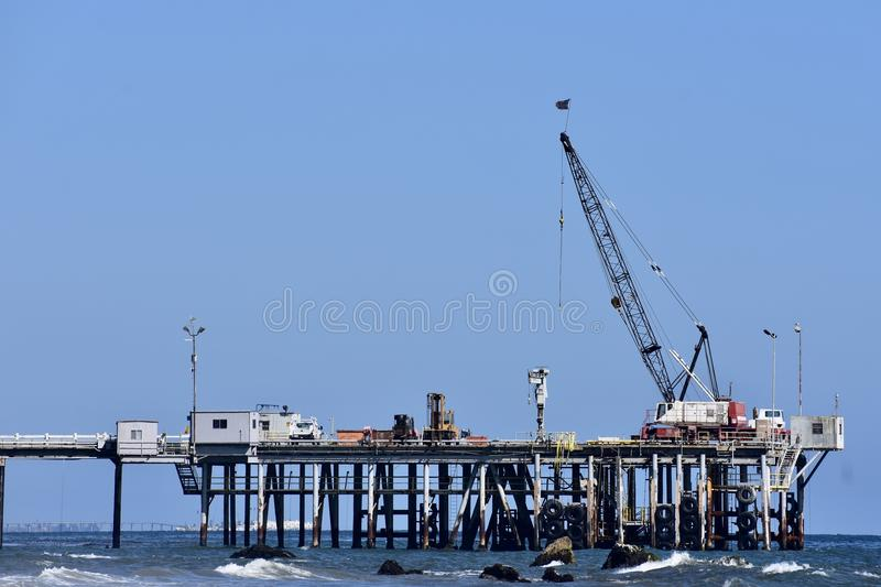 Chevron Oil Pier Carpinteria California, 4. A private pier to get equipment and personal back-and-forth to the off shore oil rigs, it is off limits to public royalty free stock photography