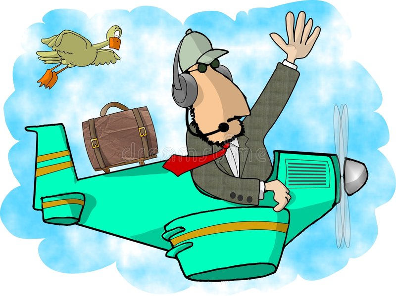 Private pilot. This illustration that I created depicts a man in a small airplane vector illustration