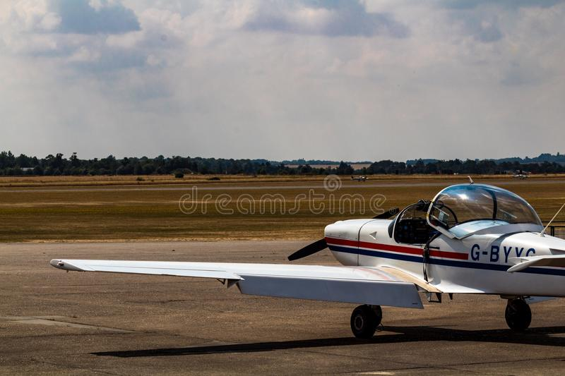 Private plane on the take-off field royalty free stock image