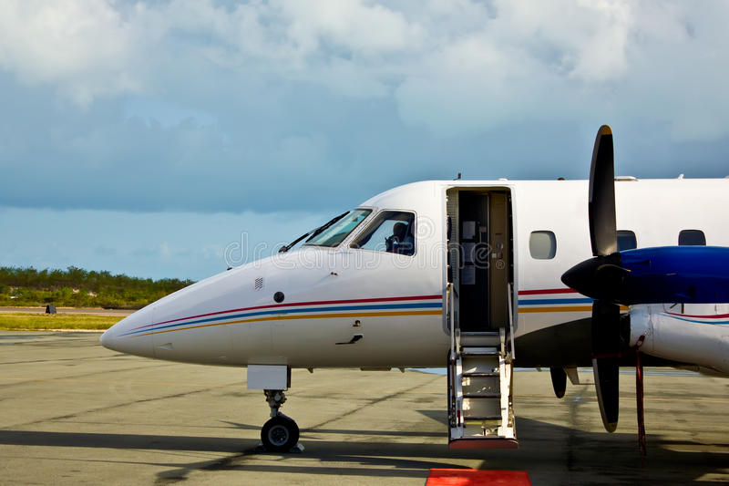 Private propeller plane waiting. For the client royalty free stock photo