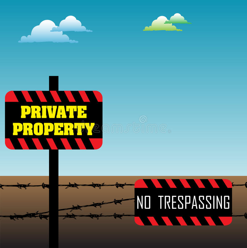 Private property. Abstract colorful illustration with barbed wire fence and private property signs. No trespassing, private property stock illustration