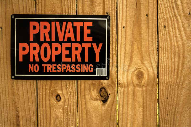 Private property no tresspassing stock photography
