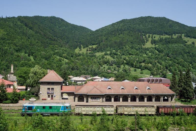 Romanian private railway operator freight train stock image