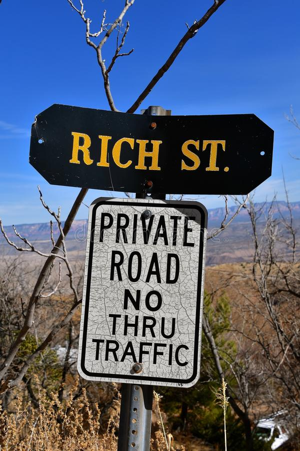 Private road sign on a rich street stock images