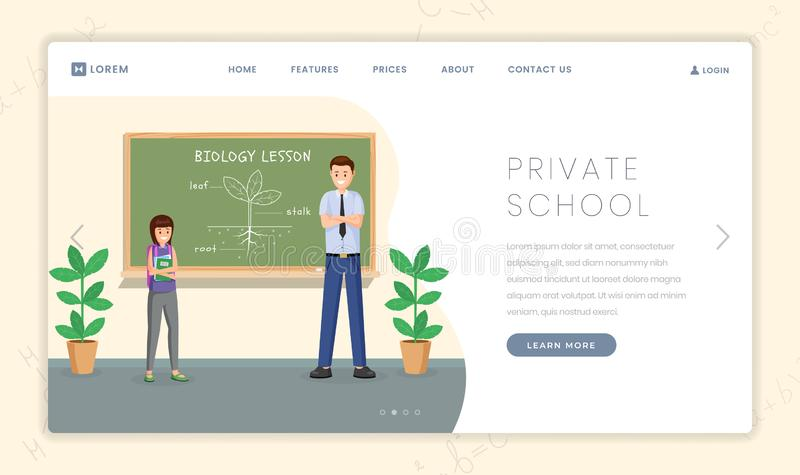 Private school vector landing page template. Cartoon biology teacher explaining plant structure to schoolgirl. Private school flat landing page template. Cartoon vector illustration
