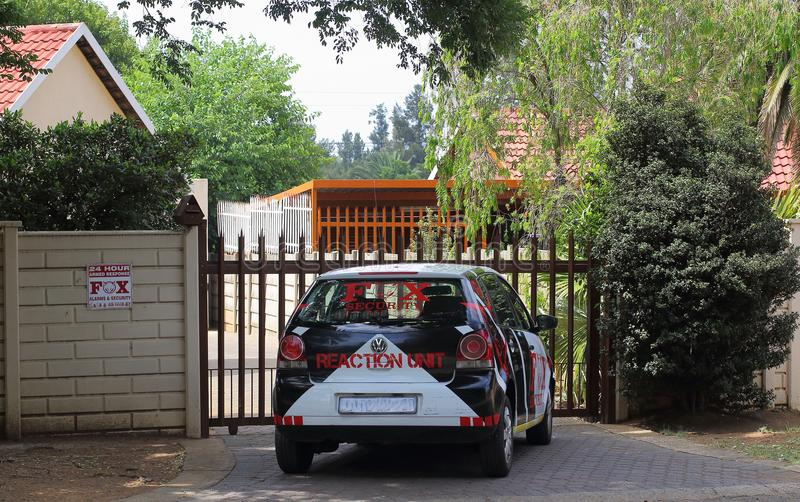 Private security industry South Africa. Johannesburg, South Africa - private security companies patrol and guard residential neigborhoods to counter the high stock photography