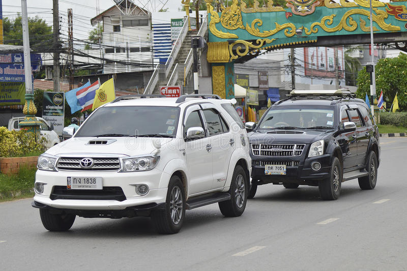 THAILAND May 29 2016: Private Suv Car, Toyota Fortuner And Isuzu Suv Car.  Photo At Road In Bangkok Thailand